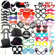 Colorful Props On A Stick Mustache Photo Booth Party Fun Wedding Christmas Birthday Favor: Amazon.co.uk: Kitchen & Home