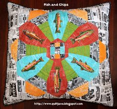 """""""Fish and Chips"""" Dresden plate pillow by Jane Davidson. Meet Me Interview Series on GnomeAngel."""