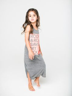 """""""ROCK & ROLL SAVED MY SOUL"""" print maxi dress with peekabook back detail. Preshrunk. Made in the beautiful USA."""