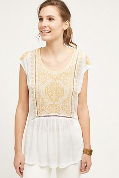 Anthropologie: romantic blouse with beautiful embroidery. Unique back detail, too! Love this!!!