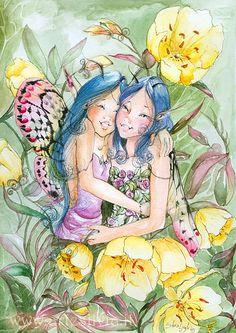 Photo - colourated version by sanguigna Woodland Creatures, Mythical Creatures, Fairies Photos, Fairy Pictures, Fairytale Fantasies, Vintage Fairies, Love Fairy, Beautiful Fairies, Flower Fairies