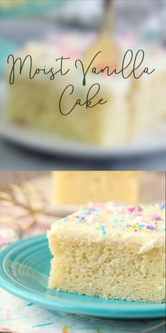 This perfectly Moist Vanilla Cake Recipe is a slightly denser than average cake with a tight crumb. Instead of light and fluffy this is more like a sponge cake. This recipe is a MUST MAKE! It's packed Easy Cheesecake Recipes, Easy Cake Recipes, Frosting Recipes, Baking Recipes, Banana Cheesecake, Cheesecake Bites, Cheesecake Squares, Layer Cake Recipes, Sponge Cake Recipes