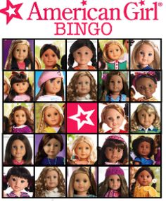 FREE American Girl Birthday Party Printable Bingo, cupcake toppers, bottle cap labels, water bottle labels, invitation files
