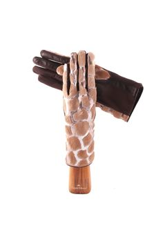 Pony hair and leather silver laminated - Capri Gloves.