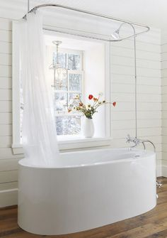 54 Delightful Bathroom Tub Shower Combo Remodeling Ideas - About-Ruth Clawfoot Tub Shower, Bathtub Shower Combo, Bath Tub, Freestanding Tub With Shower, Bath Shower, Shower Rail, Soaker Tub With Shower, Shower Window, Shower Tiles