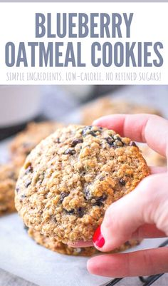 These 𝗕𝗹𝘂𝗲𝗯𝗲𝗿𝗿𝘆 𝗢𝗮𝘁𝗺𝗲𝗮𝗹 𝗖𝗼𝗼𝗸𝗶𝗲𝘀 are so good. Sweet, soft, and incredibly chewy... loaded with heart-healthy OATS, juicy blueberries + bits of dark chocolate. They are so easy to make with just a few simple pantry ingredients. WHolesome and without refined sugars. Perfect quick breakfast or afternoon snack. Great for lunchbox, picnics, camping, trips. ----- #blueberry #cookies #healthycookies #breakfast #oatmealcookies #oatmeal #oats #backtoschool #dessert… Best Cookie Recipes, Bar Recipes, Health Recipes, Healthy Dessert Recipes, Easy Desserts, Real Food Recipes, Delicious Desserts, Healthy Snacks, Blueberry Oatmeal Cookies
