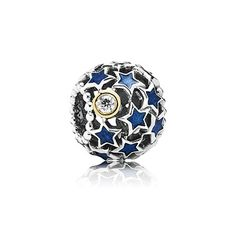 Openwork star silver charm with 14k, blue enamel and cubic zirconia