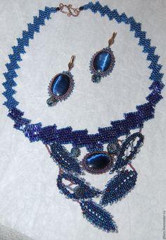 """Купить Комплект украшений """"Черника"""" - темно-синий, синий комплект, комплект украшений"""