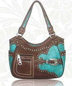 Concealed Carry Handbag CCW Gun Purse Montana West -Tooled w/ Buckle - Turquoise  $74.99 + Free Shipping!  wantedwardrobe.com