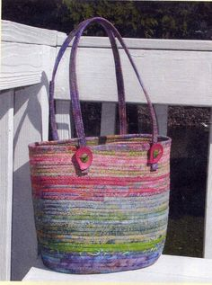 fabric wrapped clothesline tote