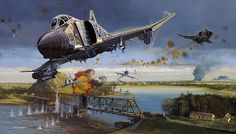 """Dragon Slayers - Navy F-4 Phantoms and A-4 Skyhawks attack the Thanh Hoa Bridge (Dragon's Jaw) in North Vietnam"", Robert Bailey"
