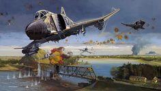 """Dragon Slayers - Navy F-4 Phantoms and A-4 Skyhawks attack the Thanh Hoa Bridge (Dragon's Jaw) in North Vietnam"", Robert Bailey"