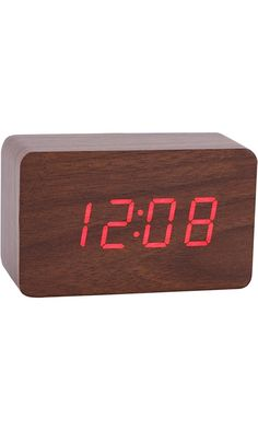 Konigswerk New Wooden Series Modern Mini Rectangle Wood Grain Calendar Thermometer Activated Desk Super Soft Night Light LED Digital Alarm Clock (Brown-Red) AC024G Best Price