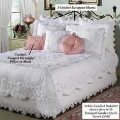 Tranquil Garden Quilt - Ordered in Ecru . with matching Shams and the Round Pillow.Tranquil Garden Quilt Bedding - the pink pillows are a nice touch, but in this picture it's the bedding that is a wowzer!Definitely going to buy this. Perfect with Per Quilt Bedding, Bedding Sets, Chic Bedding, Linen Bedding, Home Bedroom, Bedroom Decor, Shabby Chic Bedrooms, Beautiful Bedrooms, Luxury Bedding