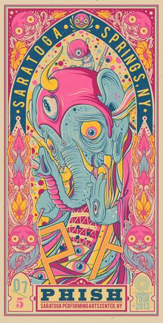 "You'll finally get a shot at Drew Millward's new Phish posters later this week. These are 12"" x 24"" screenprints, have editions of 1000 (much, much less online)."