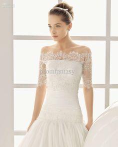 2013 Free Shipping Off-Shoulder Vintage Short Sleeve White Lace Bolero Wedding Jackets Bridal Wraps