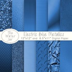 Electric Blue Metallic Texture digital papers and by TheWaterJar