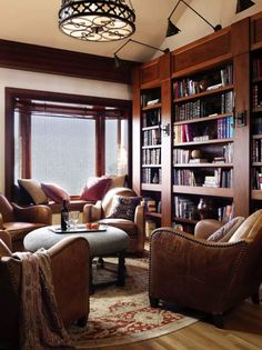 Trendy Home Library Room Study Chairs Ideas Home Library Rooms, Home Library Design, Home Libraries, Cozy Library, Library Ideas, Modern Library, Dream Library, Vintage Library, Beautiful Library