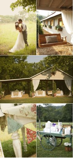 horse barn wedding- Simple Elegant, I want this <3 with two horses one for him one for I. Mountains. With bride maid wearing a lavendar dress
