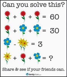 Here Is The Answer To The Flower Math Problem That Is Driving Everyone Nuts! Logic Math, Math Problem Solving, Logic Puzzles, Maths Riddles, Teaching Math, Learning Activities, Math Talk, Math Challenge, Picture Puzzles