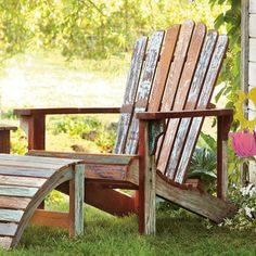 This classic Adirondack is a story in itself. Made of reclaimed wood, rich with weathered charm and gently worn color. The seat is angled just so for maximum relaxation, the arms are perfect for setting a drink upon.