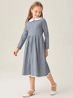 Plaid Dress, Dress P, Cotton Dresses Online, Unicorn Room Decor, Contrast, Cold Shoulder Dress, Girls Dresses, White Dress, Casual