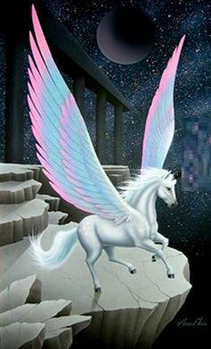 Pegasus - Moon Temple by Andy Mack Unicorn And Fairies, Unicorn Fantasy, Unicorn Horse, Unicorns And Mermaids, Unicorn Art, Fantasy Art, Unicorn With Wings, Pegasus, Magical Creatures