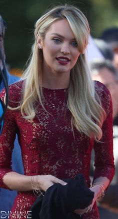 Burgundy dress and lips on the beautiful VS Angel Candice Swanepoel