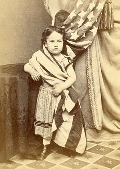 1860s CIVIL WAR era cdv *Little Lady LIBERTY* Girl WRAPPED in US FLAG* by LYONS