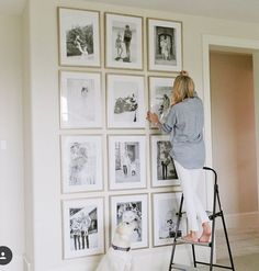 I love love love this grid system for black & white photos - love the metallic frames too. I think we could do this in either the addition or the current home if we could find a space - maybe the kitchen above the hutch if we move the others?