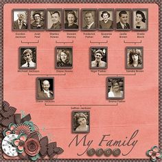 Family tree layout #layout #scrapbook #heritage by Glenda Allen Vassar Ball