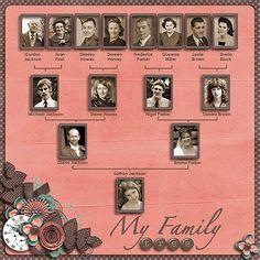 Family tree layout #layout #scrapbook #heritage by Glenda Allen Vassar Ball