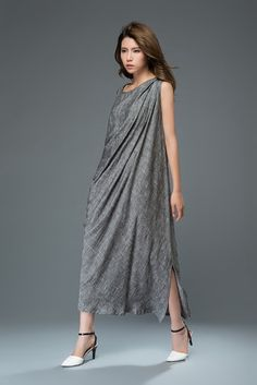 Gray linen dress women's dress C923 от YL1dress на Etsy