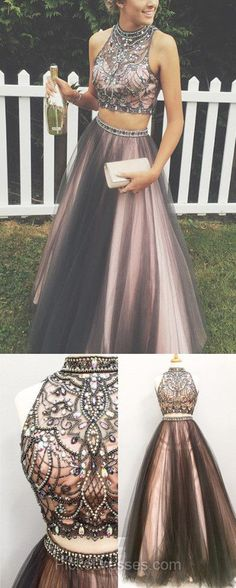 Two Piece Prom Dresses Long, Princess Party Dresses High Neck, Satin Tulle Formal Evening Dresses Beading