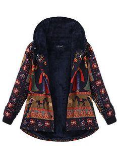 Only US$39.99 , shop O-NEWE Casual Women Printing Hooded Thick Coat at Banggood.com. Buy fashion Coats & Jackets online.