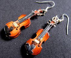 Violin 2 Violins Earrings with Box Miniblings Music por Miniblings
