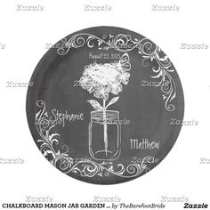 CHALKBOARD MASON JAR GARDEN WEDDING PAPER PLATES