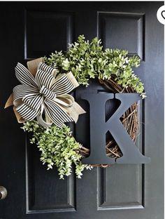 Greenery Wreath Every Day Wreath Burlap Bow Wreath Monogram Wreath, Diy Wreath, Wreath Burlap, Ribbon Wreaths, Grapevine Wreath, Wreath Bows, Yarn Wreaths, Floral Wreaths, Wreath Ideas