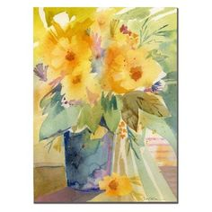 Trademark Fine Art 24 in. x 32 in. Bouquet in Yellow Canvas Art   Yellow wall art is a truly beautiful bold and vibrant way to incorporate yellow decorative accents into your home. In fact, yellow home décor is becoming increasingly popular because people like yellow wall art, yellow wall clocks and even yellow canvas wall art to deck the walls of their home. Even more cool is the new Yellow Tempered glass home décor as its cute, charming and simply adorable.