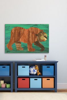 Big Brown Bear - Eric Carle. Art on canvas, also available as framed art. A happy bear for a children's bedroom