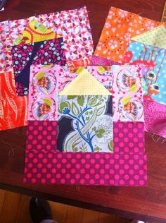 Triangles form Grace's Cabana Daydreams quilt. Here is a tutorial for making a more funkified cabana - The Little Blue Cottage block.