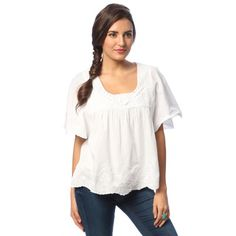 La Cera White Cotton Hand-crocheted Neckline Top | Overstock™ Shopping - Top Rated La Cera Short Sleeve Shirts