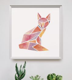 Watercolor Geometric Animal Art Print by Peach or Plum? on Scoutmob