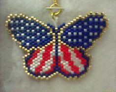 Butterfly American Flag Necklace Peyote stitch by Beadedforu