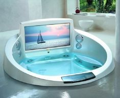 """La Scala's Pimped Out Jacuzzi Jetted Entertainment Bath. La Scala's pimped-out jacuzzi, termed a """"Jetted Entertainment Bath"""", is just another in a long lin. Luxury Bathtub, Modern Bathtub, Modern Bathroom, Bathroom Interior, Bathroom Furniture, Jacuzzi Tub, Whirlpool Bathtub, Spa Tub, Bathtub With Jets"""
