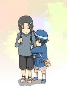 Itachi and sasuke child~hanyuu Sasuke E Itachi, Baby Sasuke, Shippuden Sasuke Uchiha, Naruto Anime, Naruto Funny, Sakura And Sasuke, Naruto Shippuden Anime, Gaara, Anime Chibi