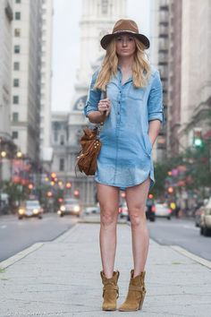 denim shirt dress, boho denim dress, western booties, style tips, outfit ideas, casual outfit inspiration