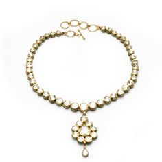 22k Gold Diamond Strand Necklace with Pendant Drop
