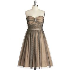 Vintage Inspired Long Strapless Fit & Flare Midnight Mambo Dress ($27) ❤ liked on Polyvore featuring dresses, short dresses, vestidos, modcloth, tan, apparel, long dresses, long strapless dress, brown cocktail dress and see through dress