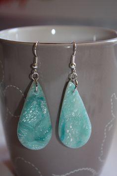 boucles d'oreille fimo et encre verte 2 : Boucles d'oreille par les-creations-fimo-de-marie